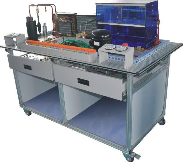 该装置集制冷空调系统安装,冰箱系统安装,制冷系统电接线,压力检漏