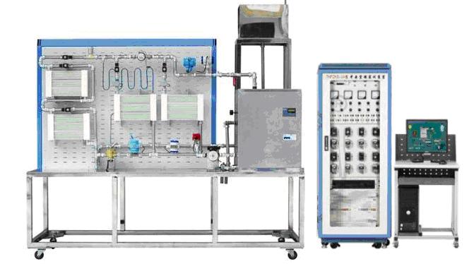 "SB-01A热水供暖循环系统综合实训装置 一、产品概述 ""热水供暖循环系统综合实训装置"" 以可编程控制器PLC为控制核心,上位机组态软件作为监控界面,实时显示工作状态与运行参数。系统主要由电热水锅炉、供热管道和散热片三个基本部分组成,并设有膨胀水箱、循环水泵、热量表、自力式压差控制阀、电动流量调节阀、电磁阀、自动排气阀、温度采集模块、压力采集模块、流量采集模块等附属设备,可组成单管顺流式、单管跨跃式、双管上供下回式三种不同的系统形式。适用于高职院校、职业学校空调工程专业、供热通风和建筑"