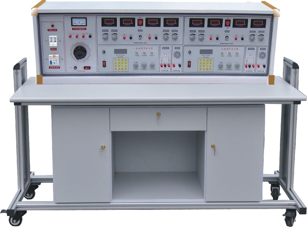 SBBKMD-289B创新型数字电子电路实验装置(双组型) 一、产品的特点: 数字电子电路实验装置具有较完善的安全保护措施,较齐全的功能。实验屏配通用电路插扳,电路板由进口ABS注塑而成,背面装有压铸而成九孔成一组的铜片,表面布有九孔成一组相互联通的插孔,创新实验元件模块在其上任意拼插成实验电路。实验元件制成透明创新模块,直观性好,盒盖印有永不褪色元件符号,线条清晰美观。盒体与盒盖采用较科学的压卡式结构,维修、更换元件拆装方便。元器件放置在实验操作桌下边左右柜内,实验时取存方便,大大提高了管理水平,规划化