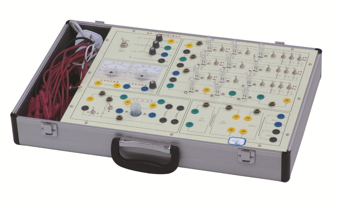 """SB-DG1电工技术实验箱 SB-DG1型电工技术实验箱主要是进行""""电工学""""及""""电路原理""""中的强电部分实验,如单相交流电路、三相电路、日光灯电路实验。本实验箱由模块单元和元件库相结合的板面构成,全部采用欧洲标准的安全插座和安全实验导线, 连线方便,接触可靠,而且寿命长、效率高,有效预防触电隐患。实验面板上印有元件符号及主要参数便于学生识别。实验箱结构紧凑实用直观,安全可靠,能有效培养学生的动手能力,维修方便、简捷。可满足各类高、中等院校及职业技术类院校开设的电工典型"""