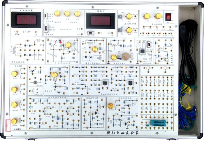 SB-A8模拟电路实验箱 SB-A8模拟电路实验箱是根据最新的《高等工业学校电子技术基础》教学大纲中确定的教学实验要求为基础,汲取了众多专业教师的教学经验,并综合了众多同类产品的优点而设计的。它函盖了《模拟电子技术基础》课程全部实验内容,既为初学者提供了验证性实验电路,又为课程设计提供了扩展平台。  一、系统特点 1、扩展性强。实验电路采用单元电路方式设计,单元电路即基本实验电路,再外接其他元件为该电路参数,或与其他的单元电路组合,完成不同的实验要求。 2、实验原理图都印刷在实验板表面,实验电路由学生按照