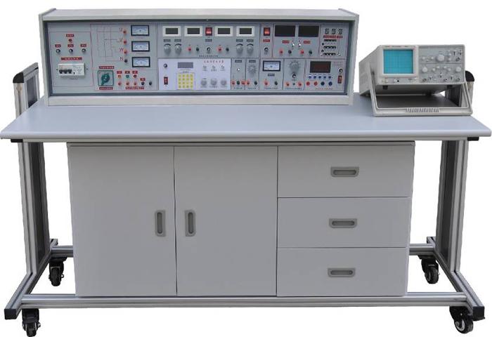 SBBK-535C电工、模电、数电三合一综合实验室成套设备(带智能型功率表、功率因数表) 一、产品的特点: 实验台具有较完善的安全保护措施,较齐全的功能。实验操作桌中央配有通用电路插扳,电路板由进口ABS注塑而成,背面装有压铸而成九孔成一组的铜片,表面布有九孔成一组相互联通的插孔,创新实验元件模块在其上任意拼插成实验电路。实验元件制成透明创新模块,直观性好,盒盖印有永不褪色元件符号,线条清晰美观。盒体与盒盖采用较科学的压卡式结构,维修、更换元件拆装方便。元器件放置在实验操作桌下边左右柜内,实验时取存方便,